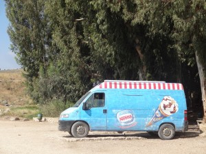 Ice cream truck at the spring